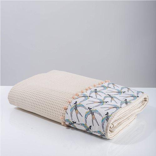 White Fabric Κουβέρτα Swallow Μπεζ