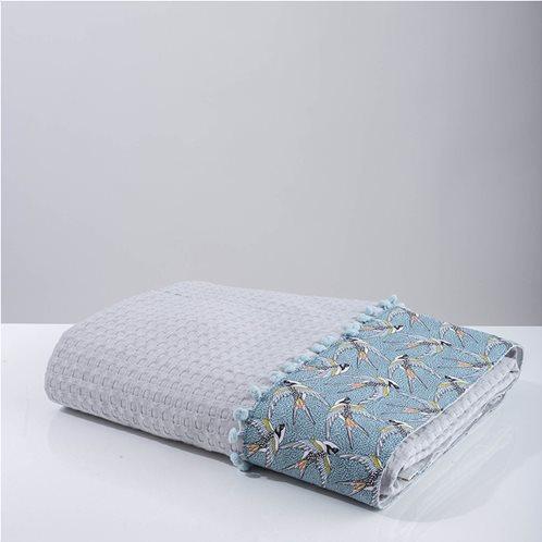 White Fabric Κουβέρτα Swallow Γκρι