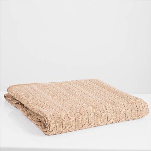 White Fabric Πλεκτή Κουβέρτα - Ριχτάρι Καναπέ Αda Μπεζ