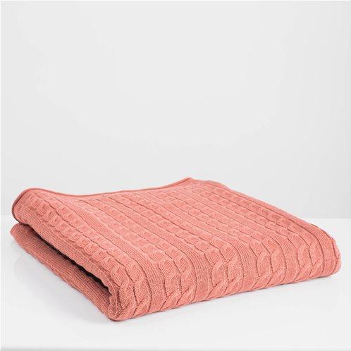 White Fabric Πλεκτή Κουβέρτα - Ριχτάρι Καναπέ Αda Dusty Pink