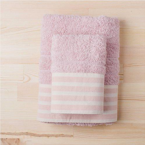 White Fabric Πετσέτα Stripy Ροζ Προσώπου