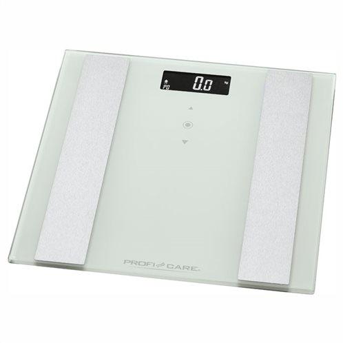 PROFI CARE Γυάλινη ηλεκτρονική ζυγαριά μπάνιου με λιπομέτρηση, 8 σε 1, PC-PW 3007 FA WHITE