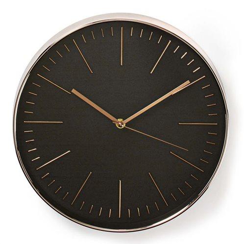 NEDIS Ρολόι τοίχου με μαύρο καντράν και ροζ-χρυσό πλαίσιο, CLWA013PC30BK
