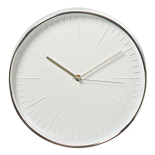 NEDIS Ρολόι τοίχου με λευκό καντράν και ασημί πλαίσιο, CLWA013PC30SR