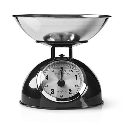 NEDIS Αναλογική ζυγαριά κουζίνας, τύπου ρετρό, σε μαύρο μεταλλικό χρώμα, KASC110BK