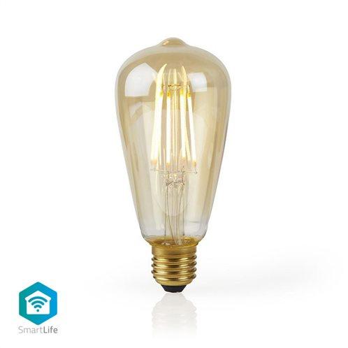 NEDIS Wi-Fi έξυπνη λάμπα Filament LED, E27, ST64, 5W, 500lm, WIFILF10GDST64