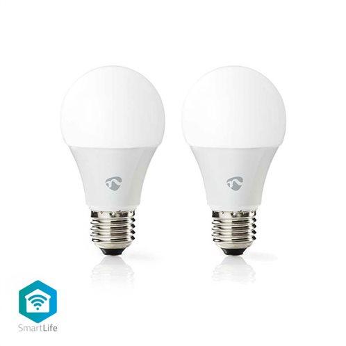 NEDIS Wi-Fi έξυπνες λάμπες LED, E27, A60, 6W, 470lm, σε συσκευασία 2 τεμαχίων, WIFILC20WTE27