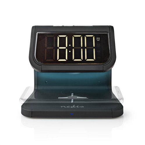NEDIS Aσύρματος Qi ταχυφόρτιστης κινητού & επιτραπέζιο ρολόι, WCACQ10W1BK