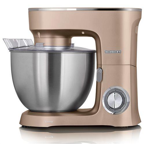 HEINRICH'S Κουζινομηχανή με κάδο μίξης 8L σε χρυσό χρώμα, 1400W.  KM 8078 gold