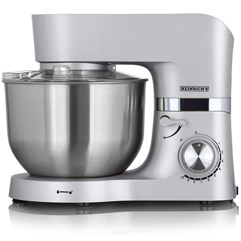 HEINRICH'S Κουζινομηχανή με κάδο μίξης 6.5L σε ασημί χρώμα, 1300W.  KM 6278 silver-metal