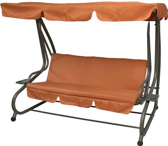 MyResort Κούνια-Κρεβάτι Μεταλλική Τριθέσια, Πορτοκαλί-Ανθρακί