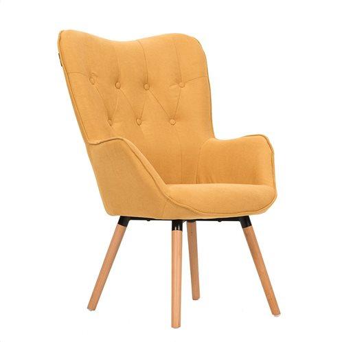 Liberta Πολυθρόνα Style Κίτρινο Ύφασμα
