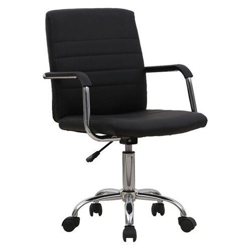LIberta Καρέκλα Γραφείου Oro Μαύρο PVC Βάση Χρωμίου