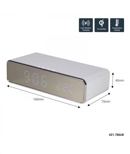 Recharge White: Ψηφιακό ρολόι ασύρματης φόρτισης (Fast Charge)