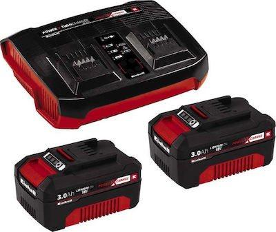 Einhell Power X-Change Σετ ταχυφορτιστής PXC (60 λεπτών) και 2 μπαταρίες 18 V 3,0 Αh PXC