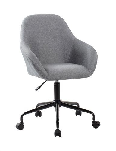 Καρέκλα Γραφείου Design Γκρί Ύφασμα & Βάση Μαύρη Μεταλλική
