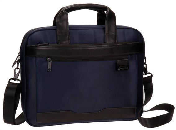 "Beverly Hills Polo Club Χαρτοφύλακας για laptop 15"" 40x32x8cm σειρά Bolt Blue&Black"