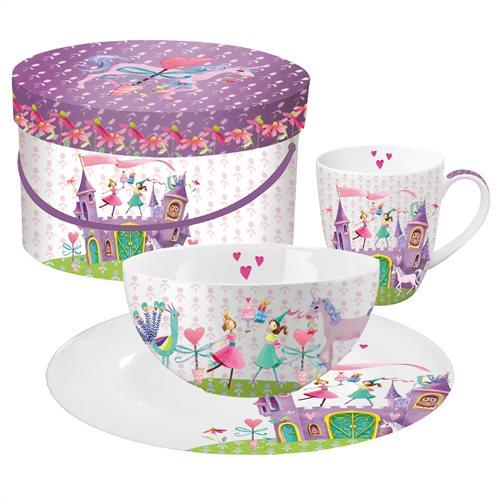 Paperproducts Design - PPD Παιδικό σετ 3τεμ. (πιάτο/μπολ/κούπα) σε κουτί Princess Castle