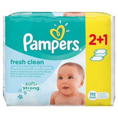Pampers Μωρομάντηλα Fresh Clean 2 πακέτα + 1 ΔΩΡΟ (192 μωρομάντηλα 3x64) 81553602