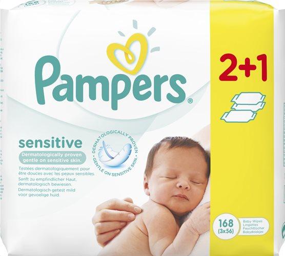 Pampers Μωρομάντηλα Sensitive 3 πακέτα 168 μωρομάντηλα-81553610