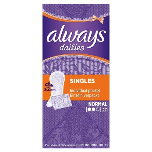 Always Dailies Singles Normal Σερβιετάκια x 20 Τεμάχια-83732997