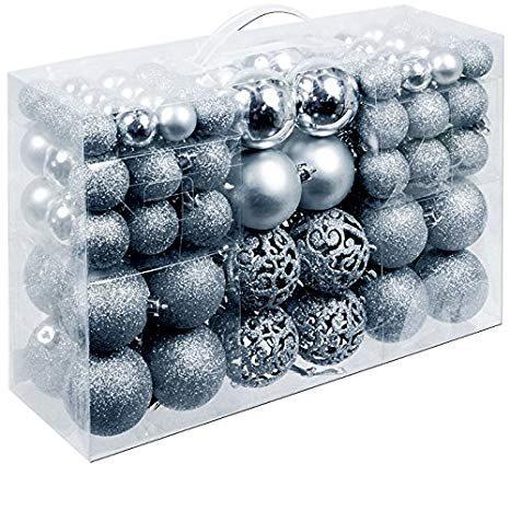 Christmas gifts Χριστουγεννιάτικες μπάλες Σετ 100τμχ 3/4/6cm Ασημί