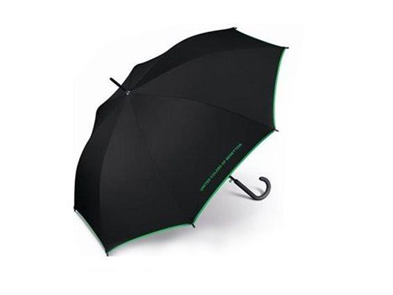 Benetton Ομπρέλα βροχής μπαστούνι με αυτόματο μηχανισμό 14667 Μαύρο-Πράσινο