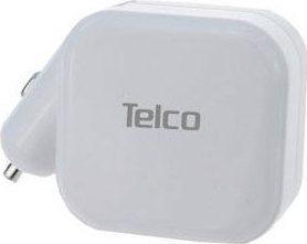 Telco Πολυφορτιστής USB Σπιτιού-Αυτοκινήτου Λευκός UP-19 2,1A
