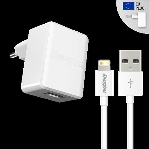 Energizer Φορτιστής Ταξιδιού 2.4A USB EU & Καλώδιο Lightning