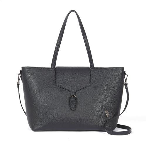 US Polo Assn. Τσάντα ώμου δερμάτινη μεγάλη 35,5x14,5x32cm Black