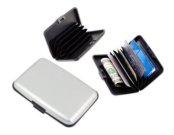 Πορτοφόλι προστασίας ανάγνωσης πιστωτικών καρτών ασημί