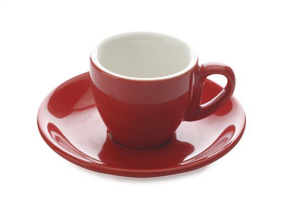 Maxwell & Williams Φλυτζάνι Ελληνικού/Espresso 70ml & Πιατάκι Κόκκινο Cafe Culture