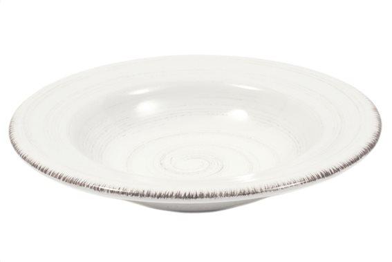 Casa Domani Πιάτο Βαθύ Κεραμικό Λευκό 25cm. Portofino