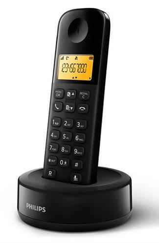 PHILIPS ασύρματο τηλέφωνο D1601B/34 με ελληνικό μενού μαύρο