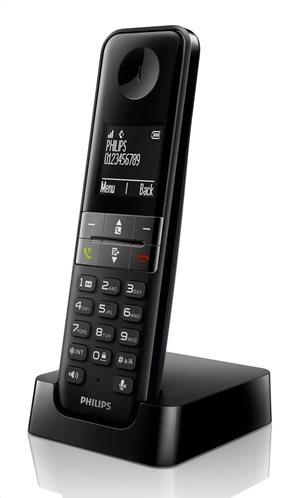 PHILIPS ασύρματο τηλέφωνο D4701B/34 με ελληνικό μενού μαύρο