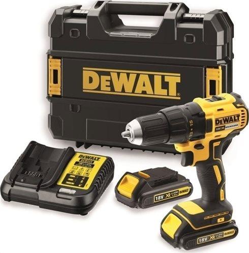 DeWalt Δραπανοκατσάβιδο κρουστικό 13mm 2 ταχυτήτων XR λιθίου 18V x 1.5Ah