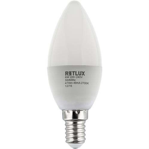 Retlux Λάμπα LED Κερί Θερμό Λευκό E14 6W RLL 259