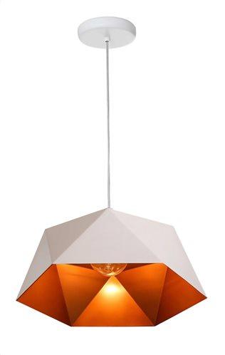 POWERTECH φωτιστικό οροφής HLL-0014 E27 μεταλλικό λευκό-πορτοκαλί