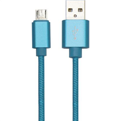 Simply Καλώδιο Data USB to Micro USB 1,5m Πλεκτό Μπλε