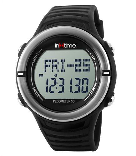 INTIME Ρολόι χειρός Hard-01 Pedometer Παλμοί καρδιάς Θερμίδες ασημί