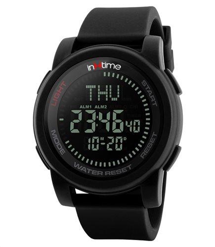 INTIME Ρολόι χειρός Comp-01 πυξίδα World time El φωτισμός μαύρο