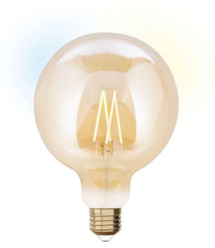 iDual Έξυπνη Λάμπα LED Filament μελί Smart G125 9W E27 CCT 2200K-5500K 230V - Με τηλεκοντρόλ