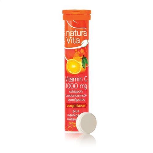 Νatura Vita Συμπλήρωμα Διατροφής Βιταμίνη C 1000mg 20 Αναβράζοντα Δισκία Πορτοκάλι