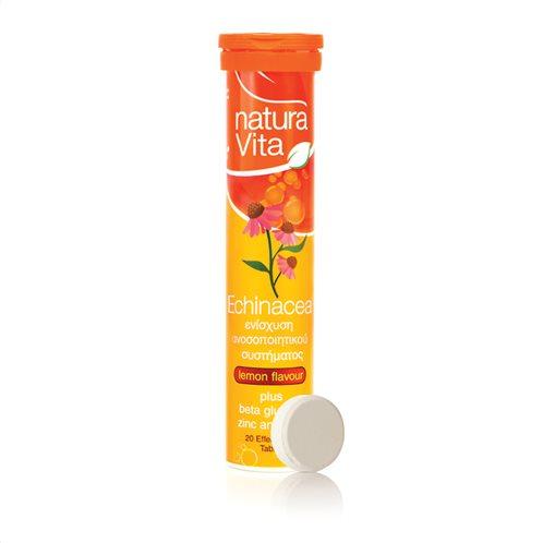 Νatura Vita Συμπλήρωμα Διατροφής Echinacea plus Beta Glucans, Zinc & Vitamin C 20 Αναβράζοντα Δισκία
