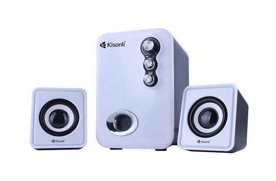 KISONLI Multimedia ηχεία U-2100 2.1ch 5W & 2x 3W USB λευκό