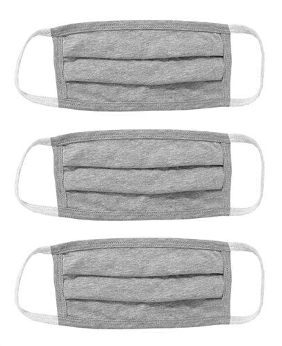 Μάσκα προστασίας βαμβακερή MSK-0007 επαναχρησιμοποιούμενη γκρι 3τμχ