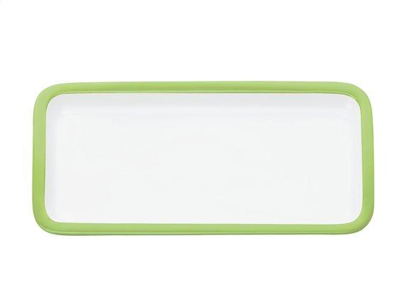Maxwell & Williams Πιατέλα Ορθογώνια Παραλληλόγραμμη με Πράσινο Περίγραμμα Πορσελάνη 20x11cm Colour