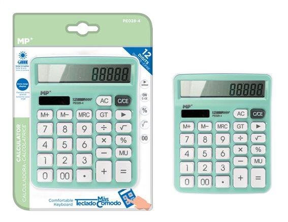 MP αριθμομηχανή PE028 ηλιακό & μπαταρίες 12 ψηφία πράσινη