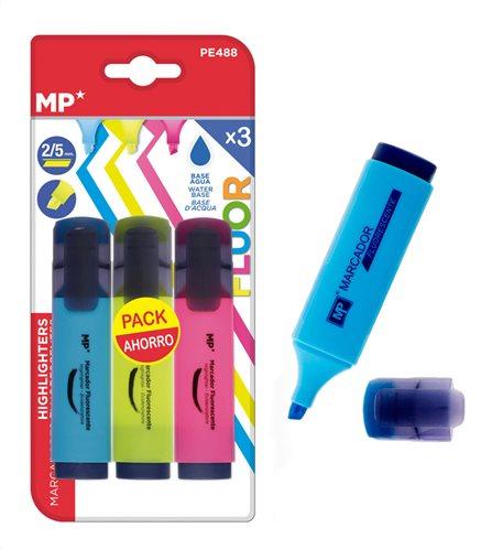 MP μαρκαδόρος υπογράμμισης PE488 πάχος μύτης 2-5mm 3 χρώματα