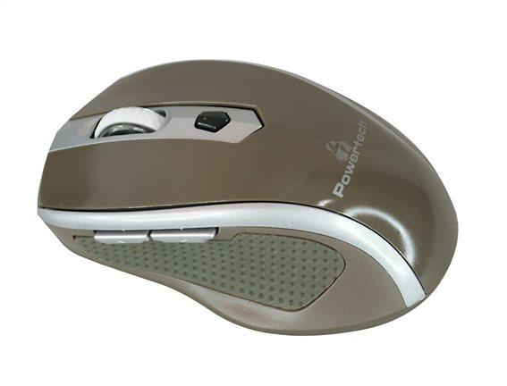 POWERTECH ασύρματο ποντίκι Οπτικό 1600 DPI καφέ